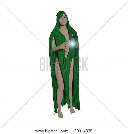 3D illustration of nude girl with long green hair and firefly in her hands isolated on white background