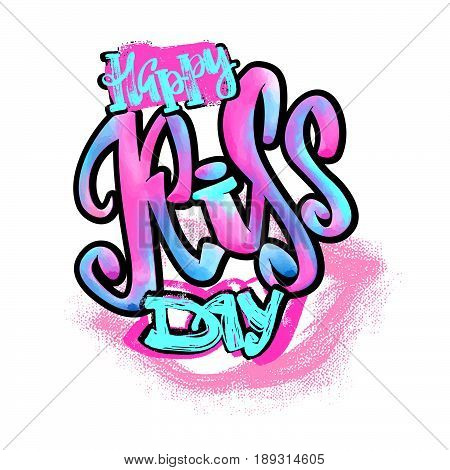 Happy Kiss Day Calligraphic Watercolor Lettering Poster.