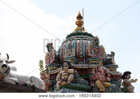 Sculpture architecture and symbols of Hinduism and Buddhism Singapore Southeast Asia