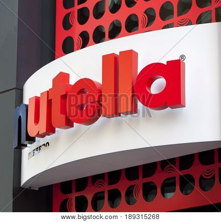 CHICAGO - June 1 2017: A view of the facade of the Nutella cafe. A new Nutella-themed cafe selling versions of their famous hazelnut products.