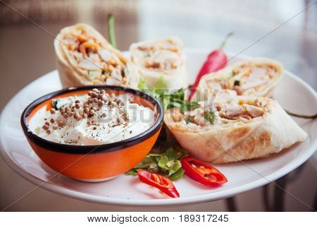 spicy armenian shawarma on plate closeup photo