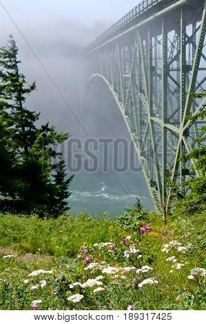 Deception Pass Bridge in fog. Arch bridge. Deception Pass State Park. Puget Sound. Juan de Fuca Strait. Whidbey Island. Seattle. Washington. United States.