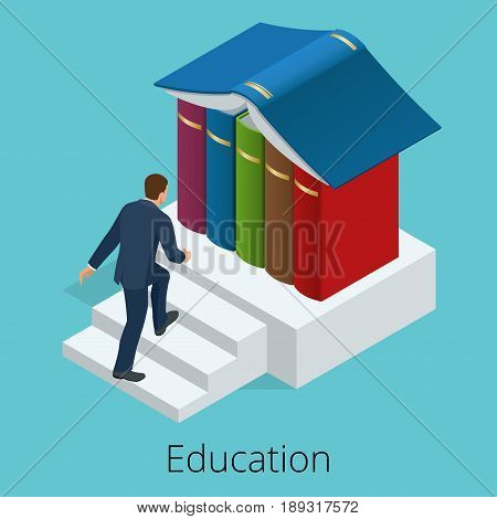 A man climbs the stairs to knowledge. Books are the source of knowledge. Training concept. Vector isometric illustration.