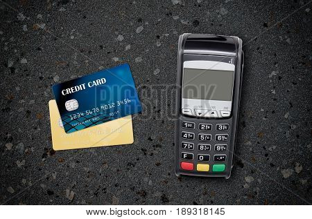 Payment terminal top view composition. credit card pay terminal top view payment background concept