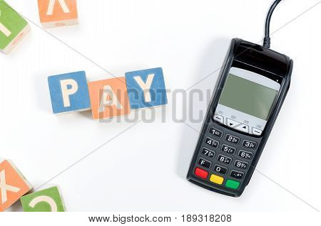 Pinpad Pos Terminal Device And Toy Blocks Concept