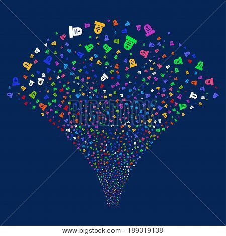 Grave salute stream. Vector illustration style is flat bright multicolored iconic symbols on a blue background. Object explosion fountain organized from random design elements.