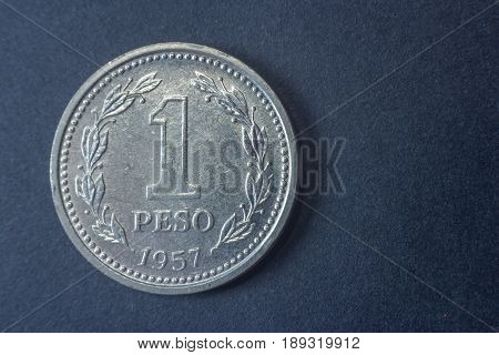One Peso Argentina 1957 Tail Coin, Vintage Old, Difficult And Rare To Find.