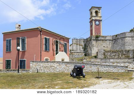 The view of  clock tower in old Byzantine fortress in Kerkyra, Corfu island in Greece.