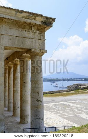 Detail of Saint George Church in old Byzantine fortress in Kerkyra, Corfu island in Greece.