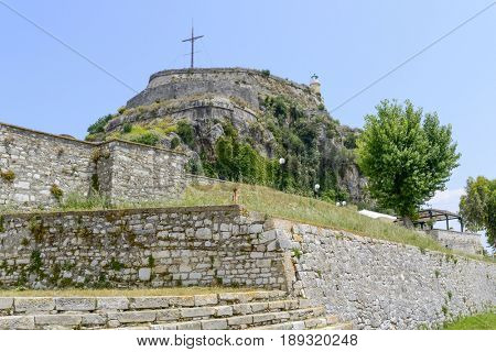 Old Byzantine fortress in Kerkyra, Corfu island in Greece.