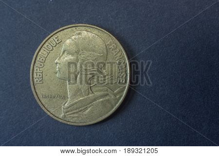 Twenty Centimes Of Franc France 1962 Head Coin, Vintage Old, Difficult And Rare To Find.