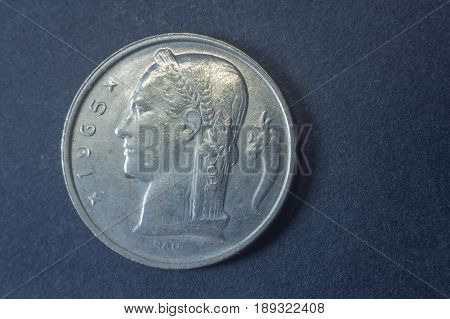 Five Belgium Francs 1965 Head Coin, Vintage Old, Difficult And Rare To Find.
