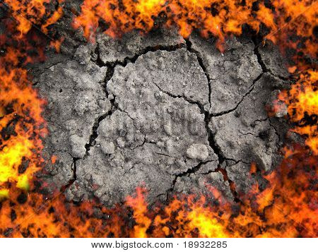 scorched earth, cracky soil and fire flame
