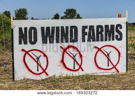Lafayette - Circa June 2017: As Wind Farms become more popular many people do not want wind turbines in their neighborhoods due to noise and shadow flicker I