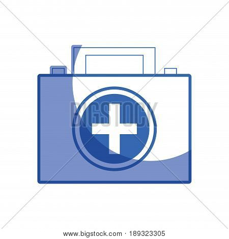 silhouette briefcase and first aid kit urgency, vector illustration