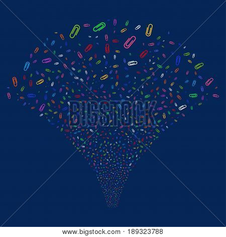 Paperclip salute stream. Vector illustration style is flat bright multicolored iconic symbols on a blue background. Object fireworks fountain created from random design elements.