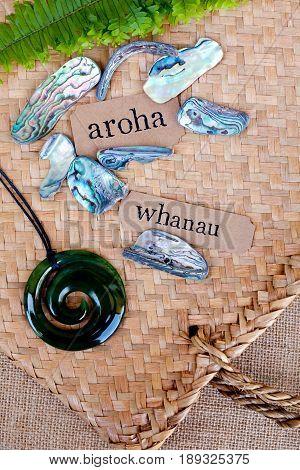 NZ - Kiwi - Maori theme - backgrounds and objects - maori words for love and respect (aroha) and family (whanau)