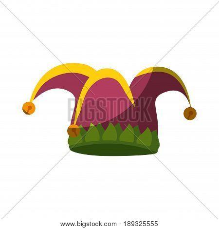 harlequin hat  icon over white background.  colorful design vector illustration