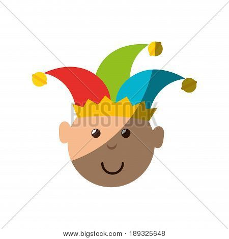 cartoon harlequin icon over white background colorful design vector illustration