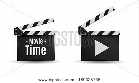 Realistic clapper.Board on a white background.film.time.vector illustration
