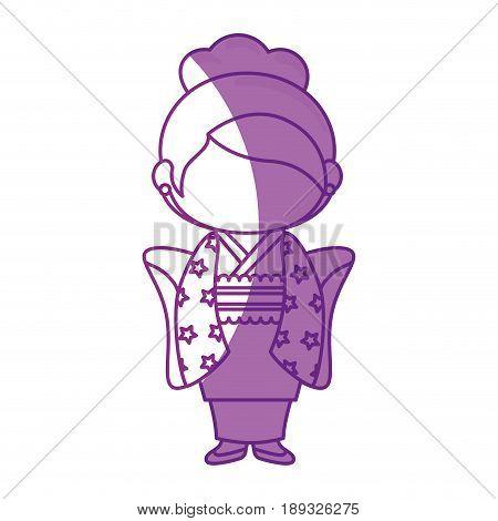 girl wearing a kimono dress icon over white background. vector illustration