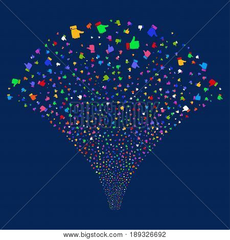 Thumb Up salute stream. Vector illustration style is flat bright multicolored iconic symbols on a blue background. Object explosion fountain done from random icons.