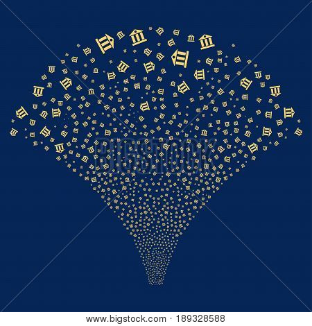 Bank Building salute stream. Vector illustration style is flat yellow iconic symbols on a blue background. Object stream fountain organized from random pictograms.