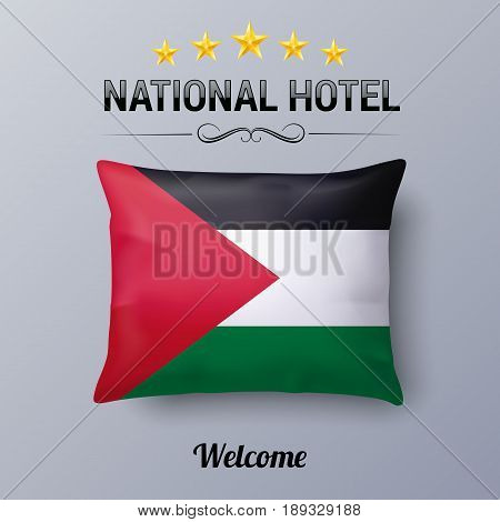 Realistic Pillow and Flag of Palestine as Symbol National Hotel. Flag Pillow Cover with Palestinian flag