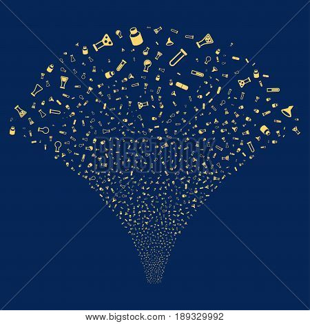 Chemistry Tubes salute stream. Vector illustration style is flat yellow iconic symbols on a blue background. Object stream fountain done from random design elements.