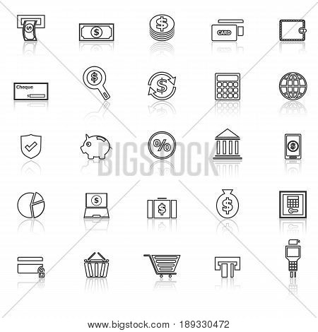 Payment line icons with reflect on white background, stock vector