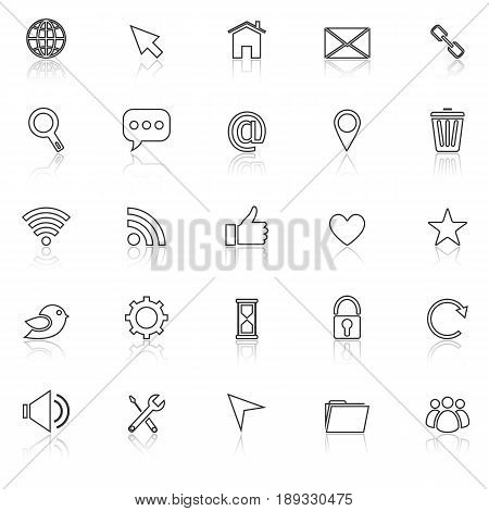 Website line icons with reflect on white background, stock vector