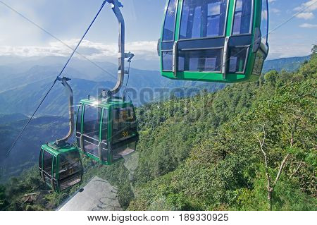 NAMCHI SIKKIM INDIA - OCTOBER 20 2016 : Ropeway arrangement at Namchi Sikkim . It is a very popular tourist attraction for tourists who can get a view of great Himalayan Mountains at Sikkim India