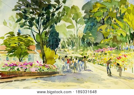 Watercolor painting original landscape colorful of flower gardenperson in trave place and emotion in tree sky background