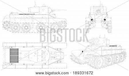 Military Russian medium Tank Isolated Illustration Vector