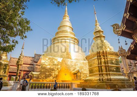 CHIANG MAI THAILAND - MARCH 5 2017 : Wat Phra Singh Woramahaviharn temple is located in the old city centre of Chiang Mai Thailand on March 5 2017. This temple is the tourist attraction