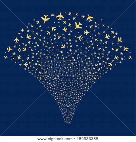 Jet Plane salute stream. Vector illustration style is flat yellow iconic symbols on a blue background. Object fireworks fountain combined from random icons.