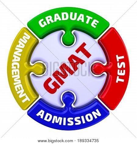 GMAT. Graduate Management Admission Test. The mark in the form of a puzzle. The inscription