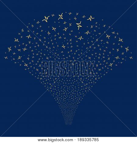 Pulse salute stream. Vector illustration style is flat yellow iconic symbols on a blue background. Object fireworks fountain organized from random design elements.