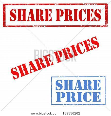 Set of stamps with text Share Prices,vector illustration