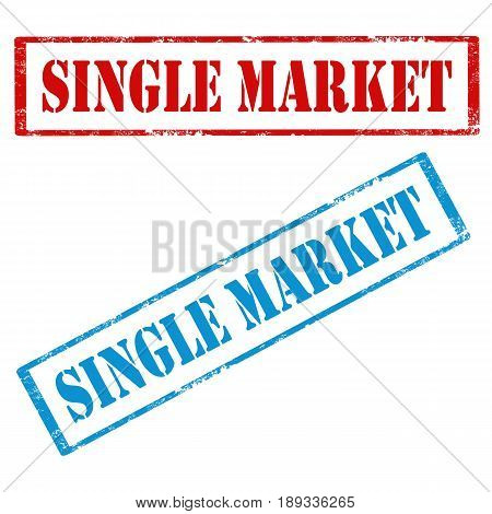 Set of stamps with text Single Market,vector illustration