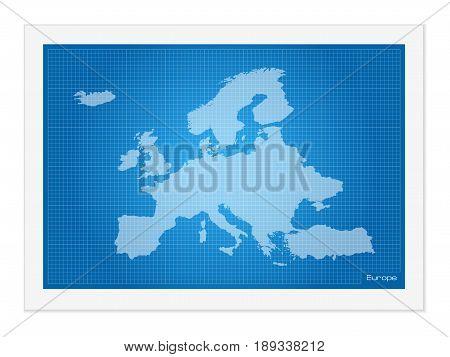 Europe Map On Blueprint
