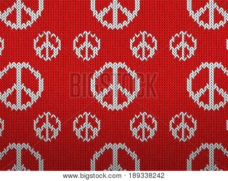 Knitted pattern with peace symbols background texture. Vector illustration.