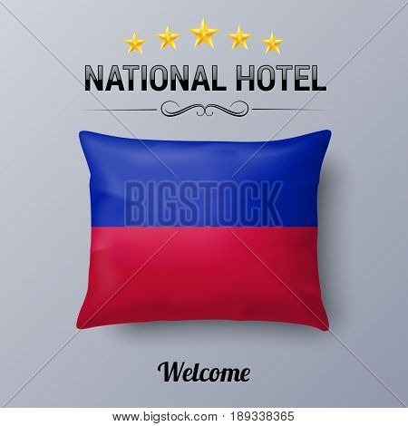 Realistic Pillow and Flag of Haiti as Symbol National Hotel. Flag Pillow Cover with Haitian flag