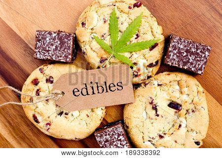 Marijuana - Cannabis - Medicinal Edibles - Cookies & Coconut Brownies, with tag and leaf