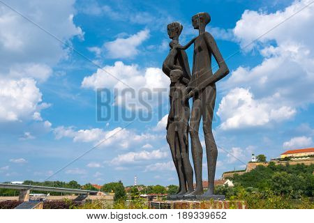 NOVI SAD SERBIA - MAY 15 2017: The monument to the victims of the raid in Novi Sad Serbia in january of 1942 during second World War taht resulted in the deaths of 3000-4000 civilians in the southern Backa region of Hungarian-occupied Yugoslavia.