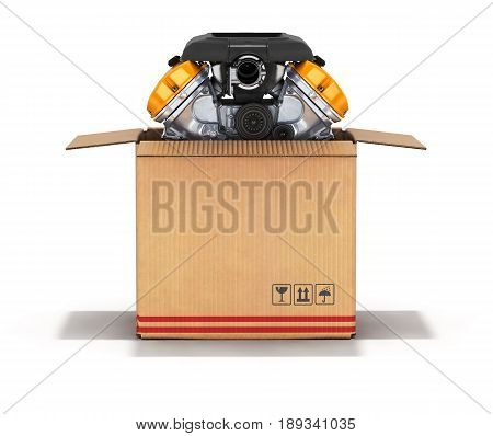 Engine in a cardboard box 3d isolated on white