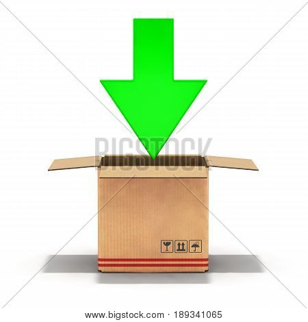 illustration packaging cardboard box 3d isolated on white