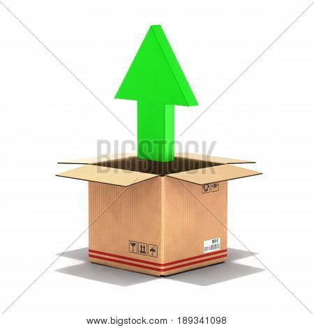 illustration unpacking cardboard box 3d isolated on white