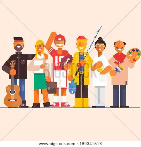 Set professions doctor artist fisherman lawyer guitarist player Vector illustration