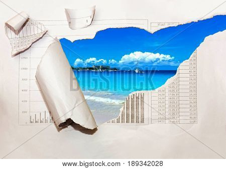 Background with photo from vacation on beautiful a seaside with effect ofripped paper. Travel advertising concept